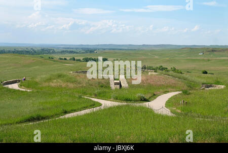 View from Last Stand Hill of the Indian Memorial, Little Bighorn Battlefield National Monument, Crow Agency, Montana, - Stock Photo