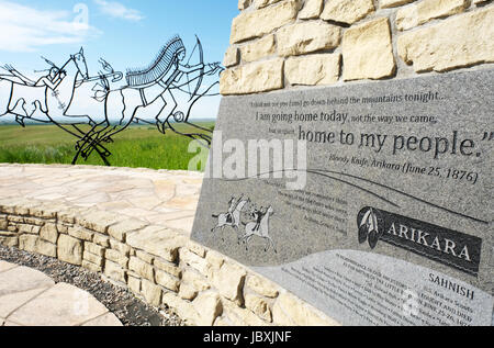 Bronze tracing sculptures of warriors, Indian Memorial, Little Bighorn Battlefield National Monument, Crow Agency, - Stock Photo
