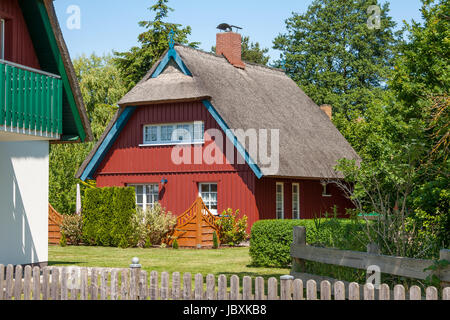 ... Red Painted Wooden Thatched Roof House With Garden   Stock Photo