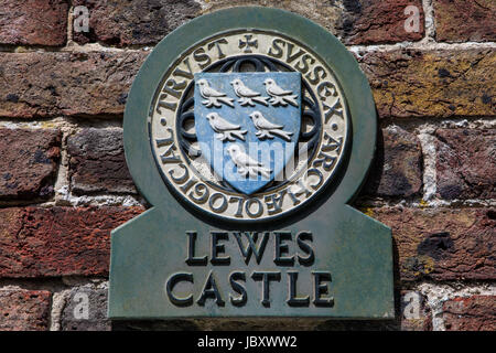 LEWES, UK - MAY 31ST 2017: A plaque at the historic Lewes Castle in Lewes, East Sussex, UK, on 31st May 2017. - Stock Photo