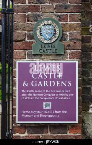 LEWES, UK - MAY 31ST 2017: A plaque and sign at the historic Lewes Castle in East Sussex, UK, on 31st May 2017. - Stock Photo