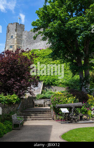 LEWES, UK - MAY 31ST 2017: A view of the historic Lewes Castle in East Sussex, UK, on 31st May 2017. - Stock Photo