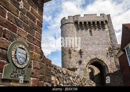 LEWES, UK - MAY 31ST 2017: A view of Barbican Gate at the historic Lewes Castle in East Sussex, UK, on 31st May - Stock Photo