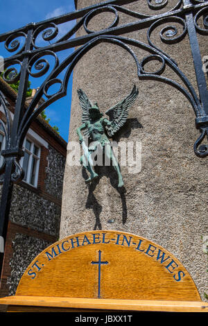 LEWES, UK - MAY 31ST 2017: The historic St. Michaels Church in Lewes, East Sussex, UK, on 31st May 2017. - Stock Photo