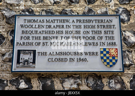 LEWES, UK - MAY 31ST 2017: A plaque noting the history of a house on the historic Keere Street in Lewes, East Sussex, - Stock Photo