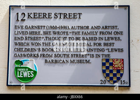 LEWES, UK - MAY 31ST 2017: Plaque on Keere Street in the historic town of Lewes in East Sussex, where author and - Stock Photo