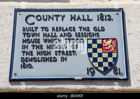 LEWES, UK - MAY 31ST 2017: The plaque at County Hall in Lewes, East Sussex, detailing the building's history, on - Stock Photo