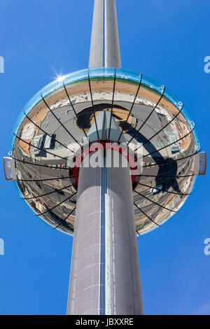 BRIGHTON, UK - MAY 31ST 2017: The impressive British Airways i360 observation tower located on Brighton seafront - Stock Photo