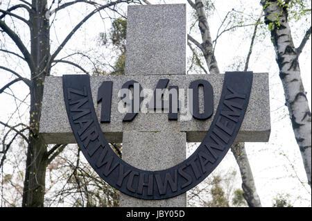 Monument dedicated to the victims of the Katyn Massacre in 1940.  Powazki Military Cemetery (Cmentarz Wojskowy na Powazkach) in Warsaw, Poland 5 April