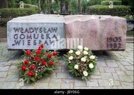 Tomb of Wladyslaw Gomulka, Polish Communist and leader of People`s Republic of Poland. Powazki Military Cemetery - Stock Photo