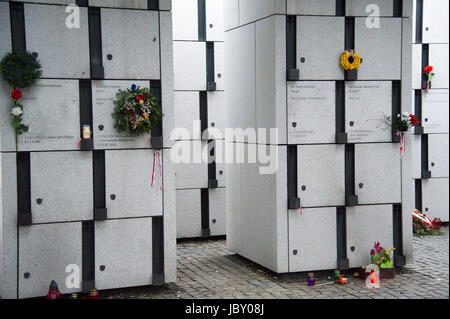 Panteon of Cursed soldiers (Zolnierze Wykleci) in Quater L (Kwatera Laczka) where are mass graves of political prisoners - Stock Photo