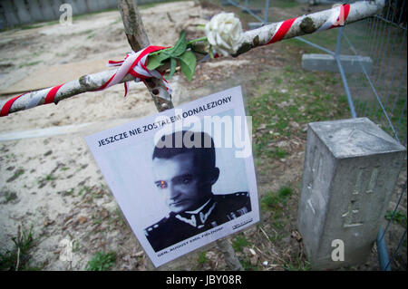 Picture of general August Emil Fieldorf pseudonym Nil (unfound) among crosses with pictures of Cursed soldiers (Zolnierze - Stock Photo
