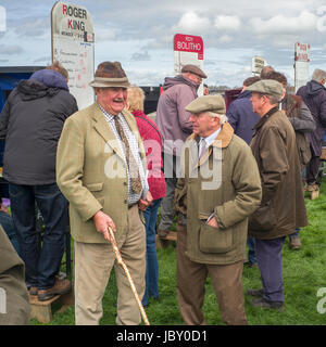 three spectators at Point to Point horse jumping, Eggesford Hunt, England uk - Stock Photo