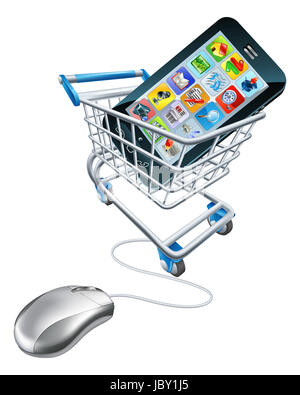 Phone mouse trolley concept of a computer mouse connected to a shopping trolley with a mobile phone in it. Concept - Stock Photo
