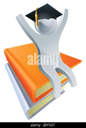 An illustration of a silver person on a stack of books wearing a gradates mortar board - Stock Photo