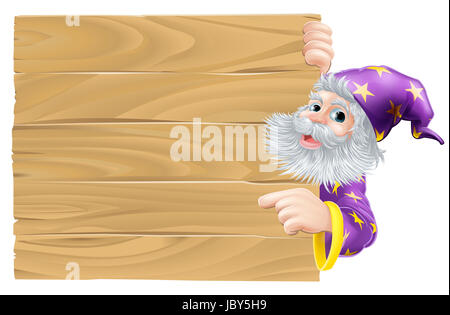 Cartoon wizard pointing sign, a kindly wizard in purple robes with stars pointing at a sign - Stock Photo