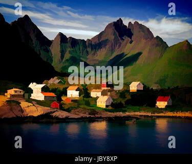 DIGITAL ART: Å and Gjerdtindan Mountains, Lofoten Islands, Norway - Stock Photo