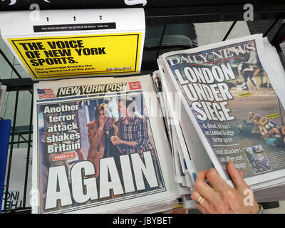New York tabloid newspapers on Sunday, June 4, 2017 report on the previous night's terrorist attack in London, UK - Stock Photo