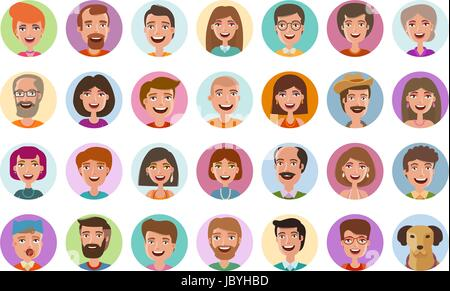 People icons set. Avatar profile, diverse faces, social network, chat symbol. Cartoon vector illustration flat style - Stock Photo
