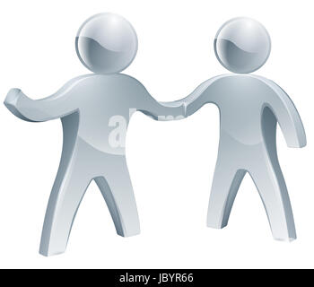 Cooperation concept of two people shaking hands in agreement - Stock Photo
