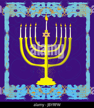 Hanukkah Greeting Card. - Stock Photo