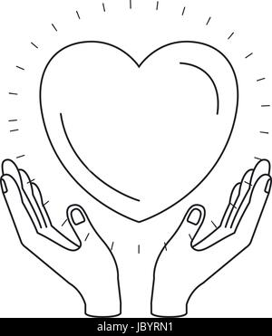 silhouette hands with floating heart charity symbol - Stock Photo