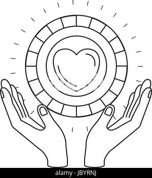 silhouette hands with floating coin with heart shape inside charity symbol - Stock Photo
