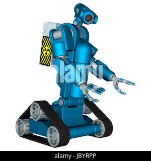 3D digital render of a blue service robot carring a box with a radioactive sign isolated on white background - Stock Photo
