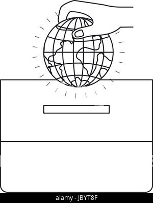 silhouette front view hand with flat globe earth world depositing in a carton box - Stock Photo