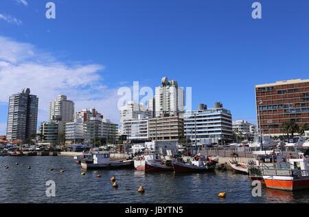 Harbor and Skyline of Punta del Este, Uruguay - April 2017 - Stock Photo