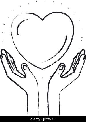 blurred silhouette hands with floating heart charity symbol - Stock Photo