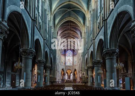 France, Allier (03), Moulins, la cathédrale, la nef // France, Allier, Moulins, the cathedral - Stock Photo