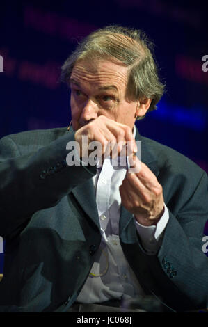 Roger Penrose theoretical physicist speaking on stage at Hay Festival of Literature and the Arts 2017 Hay-on-Wye - Stock Photo