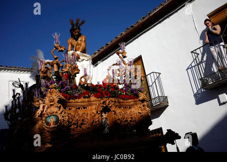 The image of Jesus Christ of the Columna o Cristo de la Columna is displayed during Easter Week celebrations in - Stock Photo