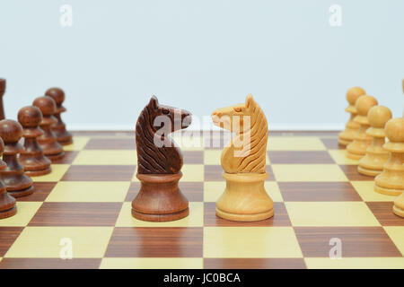 knight in the center of the chessboard in a challenging attitude - Stock Photo