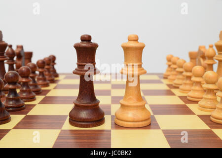 Queens at the center of the chessboard in a challenging attitude - Stock Photo