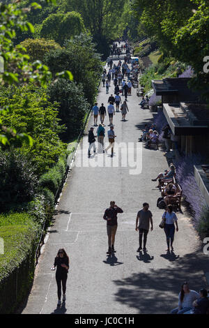 Princes Street Gardens in Edinburgh on a hot sunny afternoon - Stock Photo