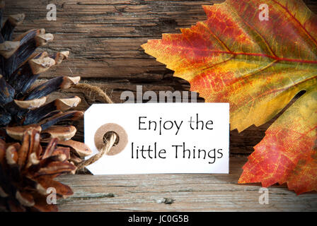 A Fall Label with the Life Quote Enjoy the little Things, on Wood - Stock Photo