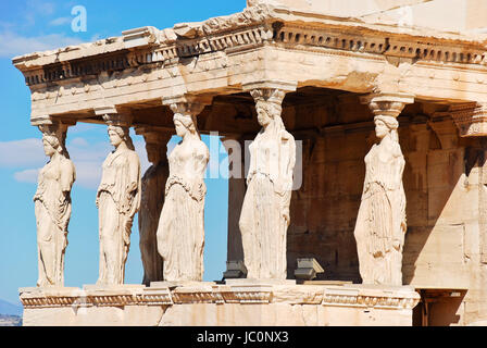 statues of Porch of the karyatides on Acropolis hill, Athens, Greece - Stock Photo