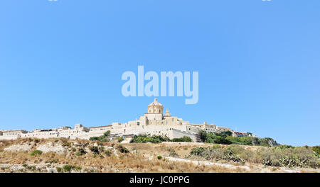 view from sea of The Citadella (Citadel) fortified city on Gozo island, Malta - Stock Photo