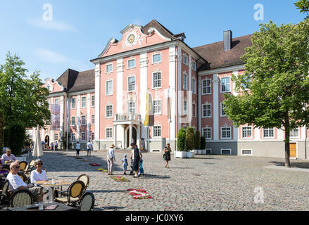 MEERSBURG, GERMANY - JUNE 19: Tourists at the new castle of Meersburg, Germany on June 19, 2014. The new castle - Stock Photo