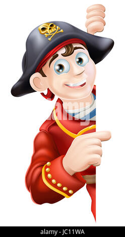 Pirate in red coat pointing at a sign  he is looking round - Stock Photo