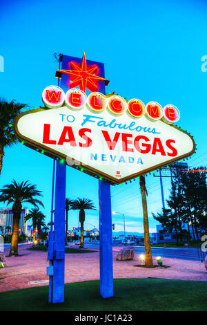 LAS VEGAS - APRIL 19: Welcome to Fabulous Las Vegas sign on April 19, 2014 in Las Vegas, Nevada. It's a Las Vegas - Stock Photo