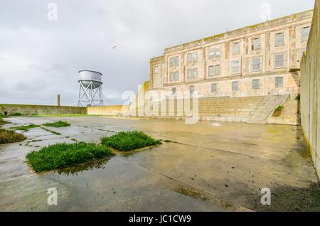 The Recreation Yard on Alcatraz Penitentiary island, now a museum, in San Francisco, California, USA. A view of - Stock Photo