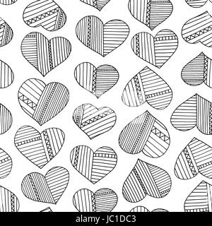 Hearts and stripes hand drawn abstract pattern. Vector seamless background for wallpaper, wrapping, textile design, - Stock Photo