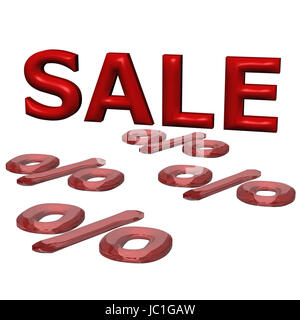 glossy red three-dimensional inscription sale - Stock Photo