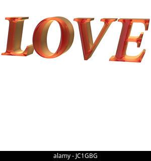 Glossy red three-dimensional inscription LOVE - Stock Photo