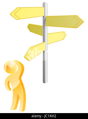 Hard choices concept of a gold person looking at arrow signs making up his mind - Stock Photo
