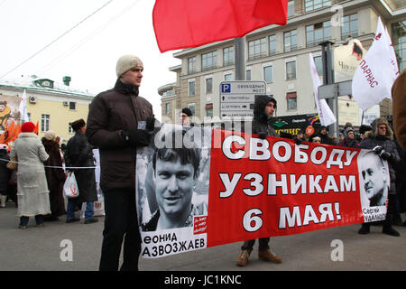 Moscow, Russia - February 2, 2014. March in support of political prisoners. A poster in support of political prisoners - Stock Photo