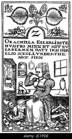 Playing card from a low German card game, 16th century, digital improved reproduction from a publication of the - Stock Photo
